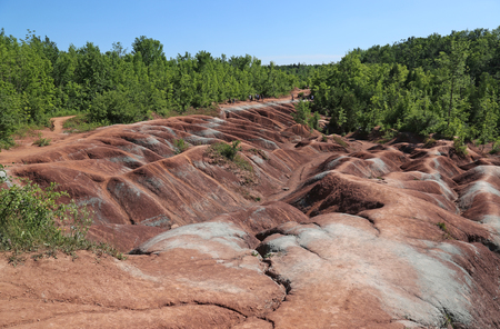 erode: The red soil of the Cheltenham Badlands located in Caledon, Ontario, Canada.