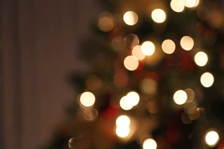 out of focus: A blurred Christmas tree with white lights.