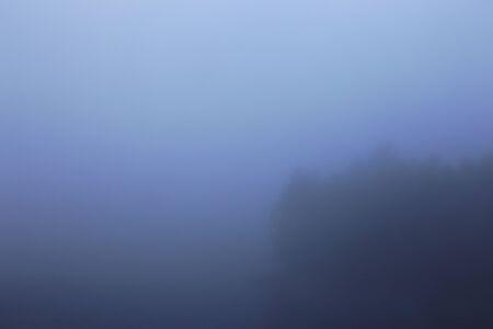 A foggy, hazy treeline on the edge of a lake. Stock Photo