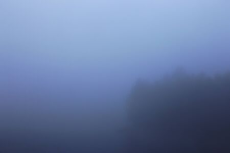 unclear: A foggy, hazy treeline on the edge of a lake. Stock Photo