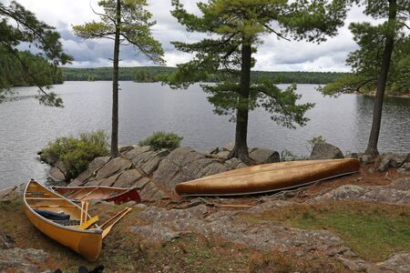 treeline: Three canoes on the edge of a lake in Algonquin Provincial Park, Ontario, Canada. Stock Photo