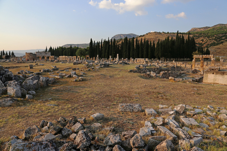 Hierapolis site shot at dusk. It was an ancient Greek city located on the hot springs in modern day Pamukkale, Turkey.