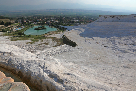 A view from on top of the terraces of Pamukkale, which means