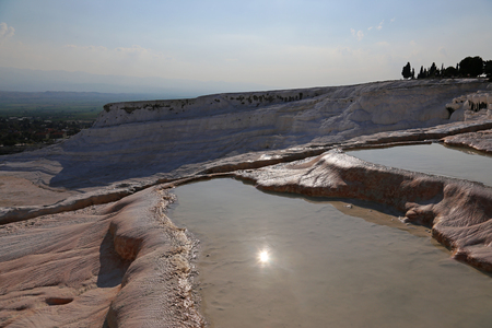 The terraces of Pamukkale, which means cotton castle in Turkish, is natural site in southwest Turkey.