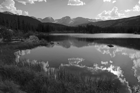 A black and white shot of Sprague lake in Rocky Mountain National Park, Colorado.