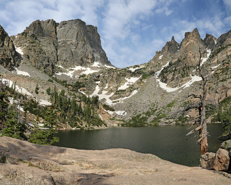 Emerald Lake with the Hallett Peak on the horizon, shot in Rocky Mountain National Park, Colorado.