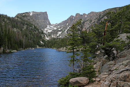 Dream lake with the Hallett Peak on the horizon, shot on trail to Emerald Lake in Rocky Mountain National Park, Colorado.