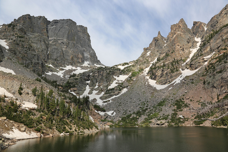 Emerald Lake with the Hallett Peak on the horizon, shot in Rocky Mountain National Park, Colorado. Stock Photo - 109275846