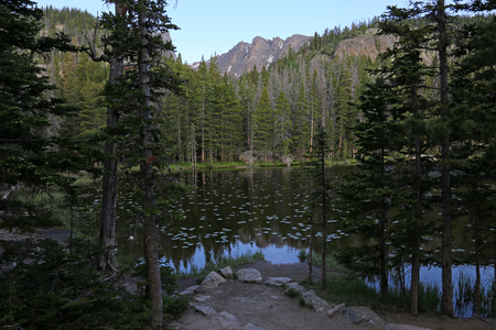 A view of Nymph Lake through the spruce on the trail to Emerald Lake in Rocky Mountain National Park, Colorado. Stock Photo - 109275867