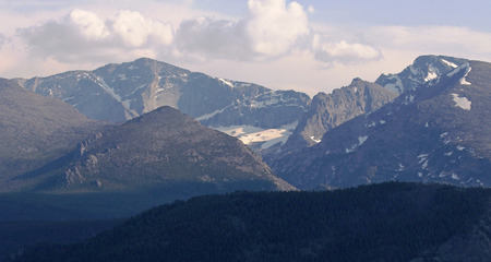 The Rocky mountains on the horizon in Rocky Mountain National Park, Colorado.