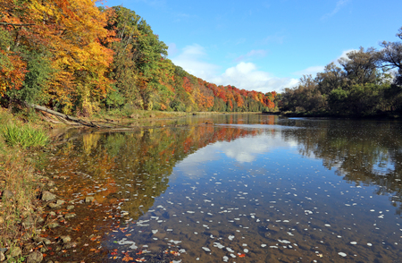 The Grand River with the fall colours reflecting in it. Shot in Kitchener, Ontario, Canada.