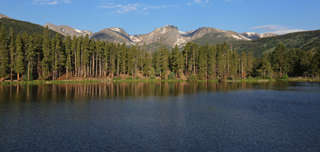 Sprague lake at sunrise, located in Rocky Mountain National Park, Colorado.