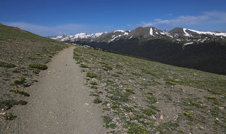 The head of the Ute Trail, right near the Alpine Visitor Center, in Rocky Mountain National Park, Colorado. 版權商用圖片