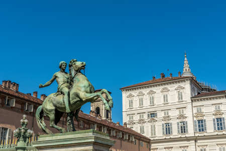 reale: Look to the Royal Square Piazzetta Reale in Torino Stock Photo