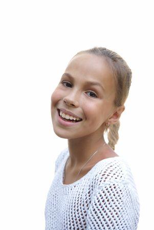 petite girl: Cheerful preteen girl on white background