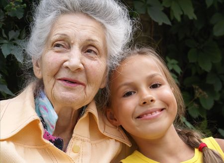 Granddaughter and her grandmother talking Фото со стока - 3903758