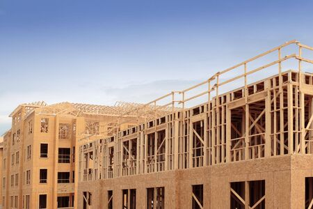Wooden framework for new construction of condo units
