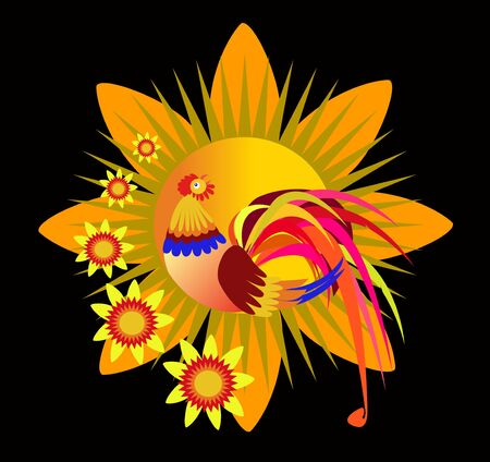 Illustration of fantastie fire bird on floral and black background