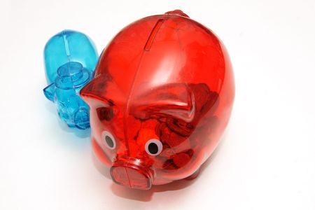 Two colored piggy banks on white background