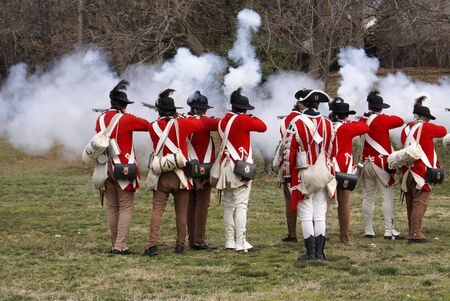 Revolutionary war reenactment at Fort Ward Historic Site Alexandria Virginia Washington DC area on President Day Editorial