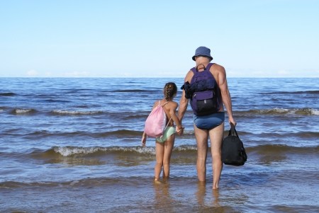 Father and daughter on a beach Stock Photo - 14160365