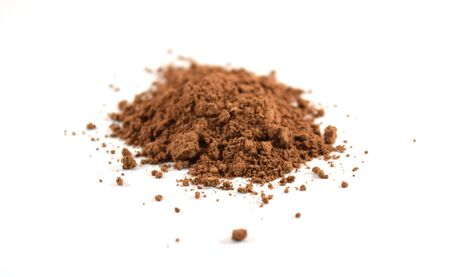 Brown cocoa powder unsweetened, finely ground, isolated