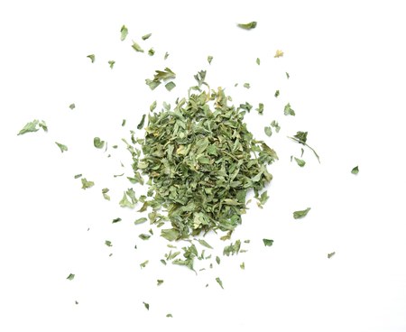 Dried Italian parsley, petroselinum crispum, isolated on white