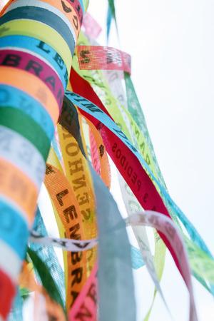 Brazilian ribbons (Lembranca do Senhor do Bonfim da Bahia) from Salvador, Bahia used to tie around wrist three times and make 3 wishes. Translation: Reminder of our Lord of Bonfim of Bahia