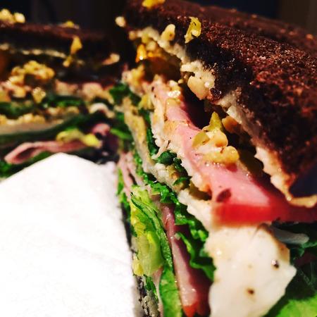 pumpernickel: Giant sandwich on pumpernickel