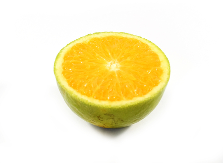 citrus aurantium: Half of a cut orange fruit - isolated Stock Photo