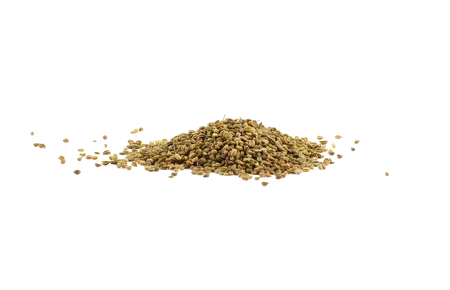 Pile of brown organic celery seeds - isolated