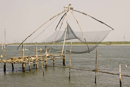 chinese fishing nets: The traditional Chinese Fishing Nets at Cochin, India