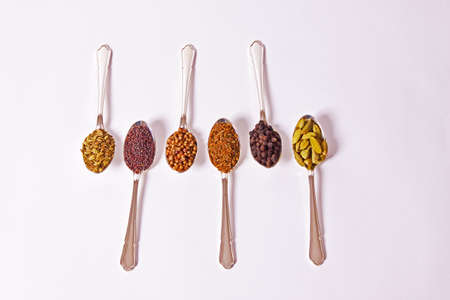 Six different whole spice seeds in silver spoons on a white background Stock Photo - 7672997