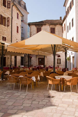 kotor: A pavement cafe in Kotor old-town in Montenegro
