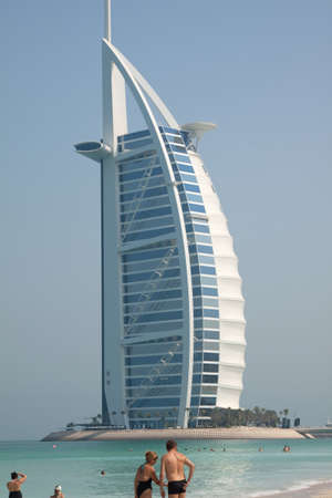 The Burj Al Arab hotel on Jumeirah beach in Dubai. A super luxury hotel, marketed as the only 7 star hotel in the world. Stock Photo - 10887895