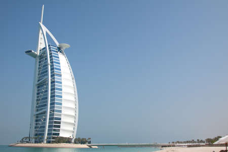 exclusivity: The Burj Al Arab hotel on Jumeirah beach in Dubai. A super luxury hotel, marketed as the only 7 star hotel in the world.
