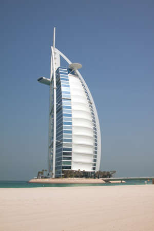 The Burj Al Arab hotel on Jumeirah beach in Dubai. A super luxury hotel, marketed as the only 7 star hotel in the world.