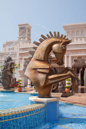 busts: Close up of the equine water feature outside of the Madinat Jumeirah hotel in Dudai Editorial