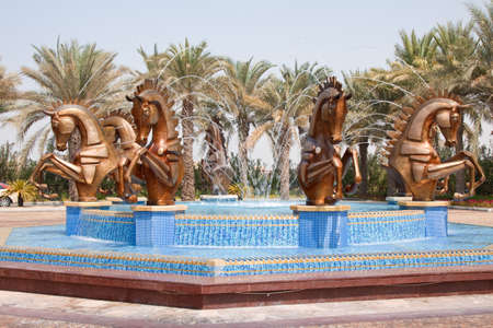 busts: Ornamental fountain outside of the Madinat Jumeirah Hotel in Dubai Editorial