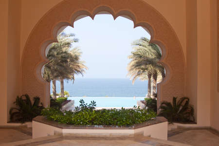 Oman: View over the Arabian Gulf from the six-star Shangri-la Al Husn hotel in Muscat, Oman Editorial