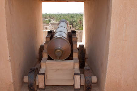 embrasure: View through a gun emplacement in Nizwah fort in the Sultanate of Oman
