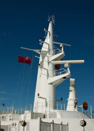 g p: The communications mast of an ocean going cruise ship