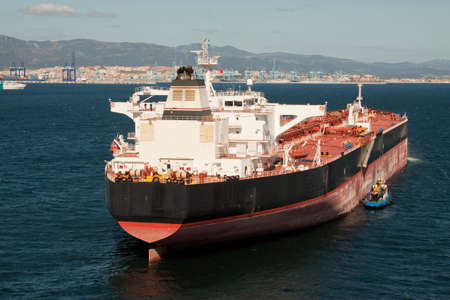 A tanker ship at anchor off the port of Gibraltar photo