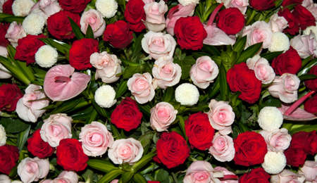 Centrepiece: Close up of a floral display consisting of red, pink and white flowers