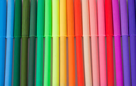 felt tip: A Close up shot of a row of coloured felt tip pens