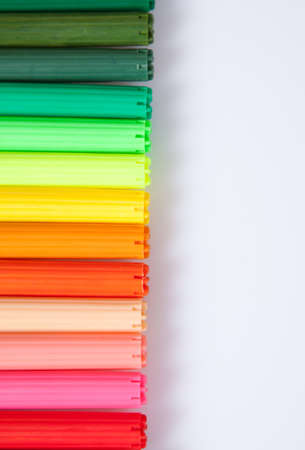 felt tip: Close up shot of multiple coloured felt tip pens Stock Photo