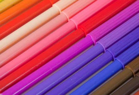 Close-up of multicoloured fibre tip pens photo