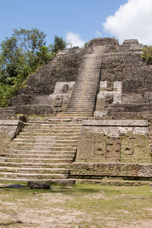 The High Temple in the ancient Mayan city of Lamanai in Belize, Central America Stock Photo