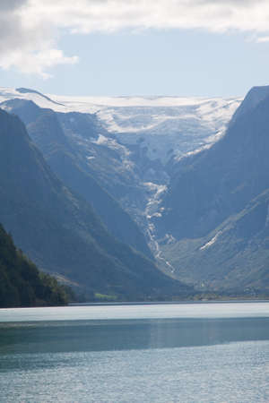 olden: A view of the Briksdal glacier across Briksdal lake in Olden, Norway