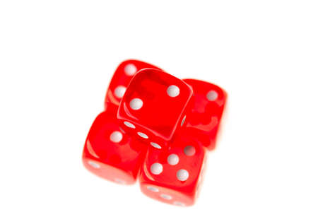 lose up: Five red dice isolated against a white background